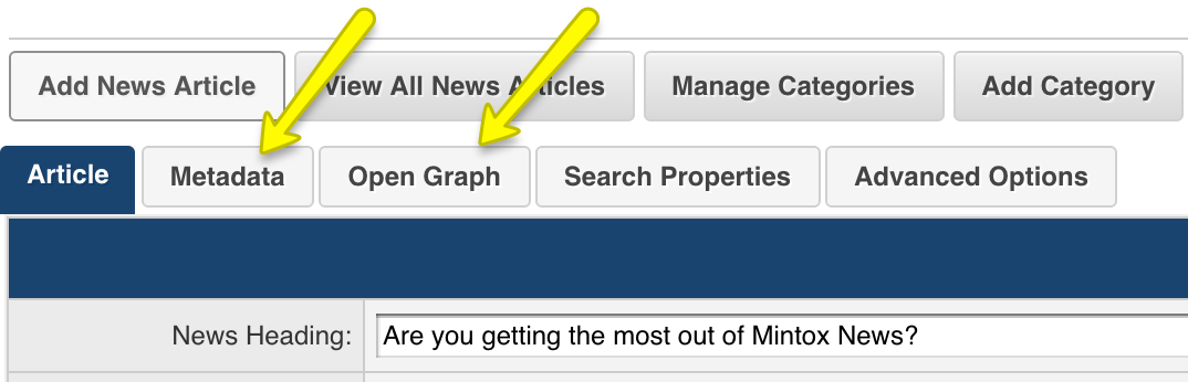 Mintox News tabs in add or edit article