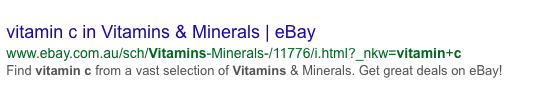 Vitamin C in search results page - ebay result